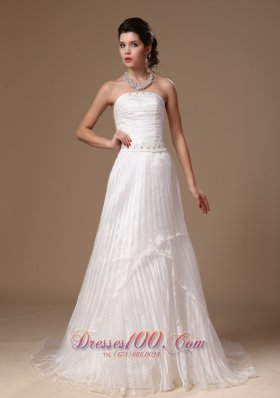 Organza Beaded Court Train Bridal Wedding Dress