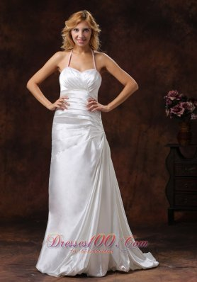 Ivory Halter Ruched Satin Brush Wedding Dress