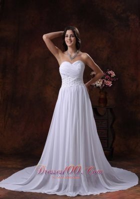 Ruched Chiffon Appliques Court Train Wedding Dress