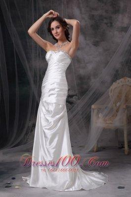 Beaded Ivory Ruched Wedding Dress Brush Taffeta