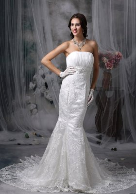 Chiffon Mermaid Ruched Lace Wedding Dress Train