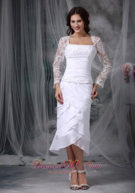 Tea Length Beaded Lace Wedding Dress Chiffon