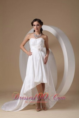 High Low Ruched Flower Taffeta Wedding Bridal Gown