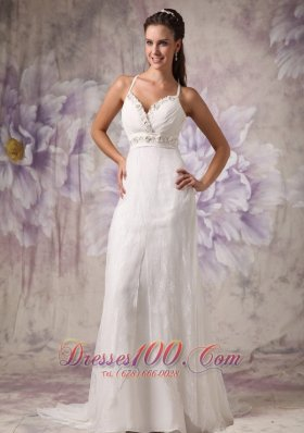 Beaded Spaghetti Straps Wedding Dress Lace Brush Train
