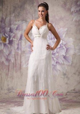 Beaded Spaghetti Straps Wedding Dress Lace Brush Train