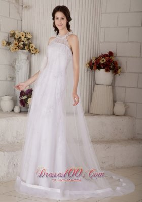 Organza High Neck Beaded Brush Muslim Wedding Dress