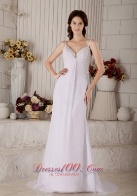 Chiffon Spaghetti Straps Beaded Bridal Wedding Dress
