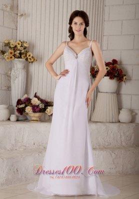 Chiffon Spaghetti Straps Beaded Bridal Wedding Dress
