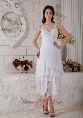Embroidery V Neck Short Wedding Dress Bridal Chiffon