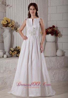 Taffeta Bateau Wedding Dress With Hand Made Flower