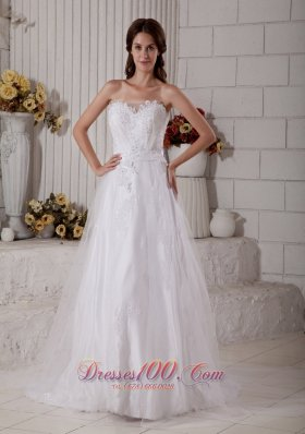 Appliques Tulle Sweetheart Brush Wedding Dress