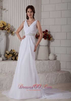 Ruched V Neck Beading Beach Wedding Dress Train