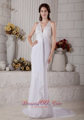 Lace V Neck Mermaid Beaded Wedding Dress Chiffon