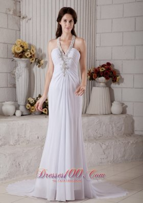 Beaded V Neck Chiffon Beach Wedding Dress Brush