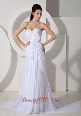Ruched Appliques Flowers Wedding Dress Chiffon Train