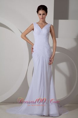 Ruch V Neck Chiffon Wedding Dress Court Train