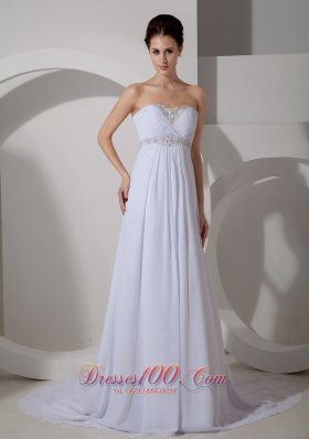 Appliques Sweetheart Chiffon Court Wedding Dress