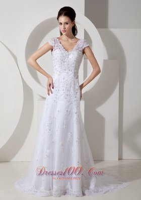 Lace Beading Court Train Bridal Wedding Dress