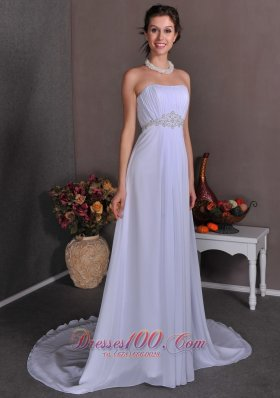 Appliques Chiffon Strapless Court Wedding Dress