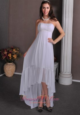 High Low Chiffon Appliques Wedding Dress Bridal