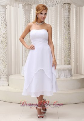 Ruched Chiffon Short Bridal Wedding Dress Strapless