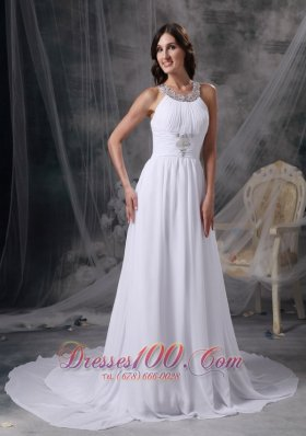 Empire Beading Chiffon Ruched Wedding Dress Train