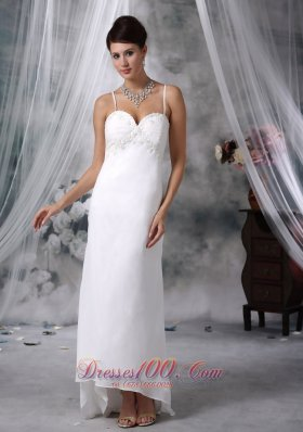 Spaghetti Straps Appliques Wedding Dress High Low Chiffon