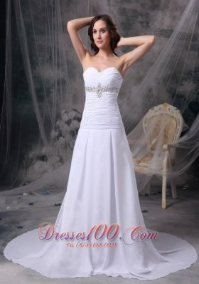 Appliques Ruched Beach Chiffon Court Wedding Dress