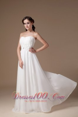 Empire Tulle Strapless Appliques Beach Wedding Dress