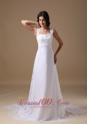 Square Chiffon Lace Straps Wedding Dress Court Train