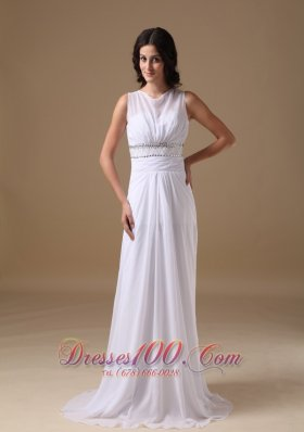Scoop Beading Brush Train Wedding Dress Chiffon
