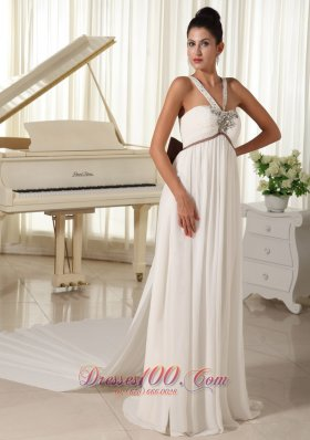 Beaded Straps Watteau Train Wedding Dress Bowknot