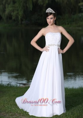 Chiffon Strapless Sweep Beaded Bridal Wedding Dress