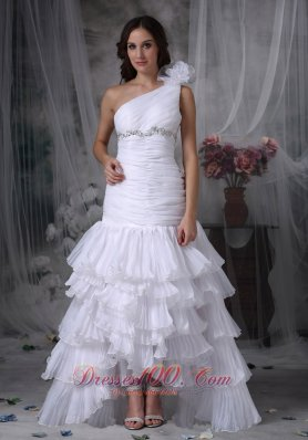One Shoulder Mermaid Ruched Wedding Dress Beading