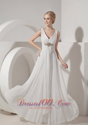 Beading V Neck Beach Wedding Guest Dresses Chiffon