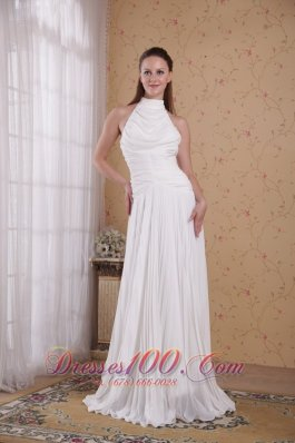 High Neck Pleat Chiffon Wedding Bridal Dresses