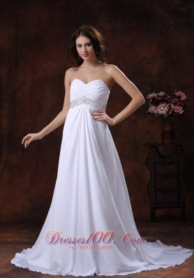 Beaded Sweetheart Wedding Dress With Brush Train