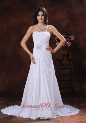 Chiffon Beaded Sweetheart Wedding Dress Brush Train