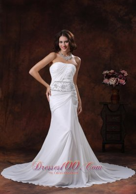 Mermaid Chiffon Beaded Court Train Wedding Dress