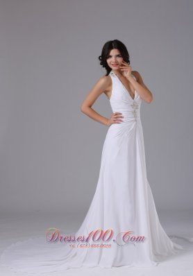Beading Halter Ruched Wedding Dress Chapel Train
