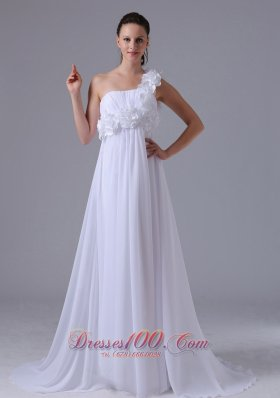One Shoulder Hand Made Flowers Ruch Wedding Dress