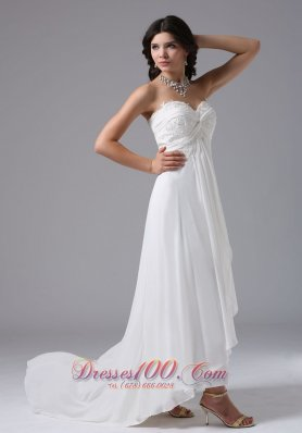 High Low Lace Ruched Sweetheart Bridal Dresses