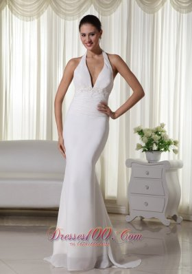 Halter Appliques Chiffon Brush Train Wedding Dress