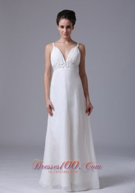 Chiffon Ruched Straps Beading Wedding Dress Bridal