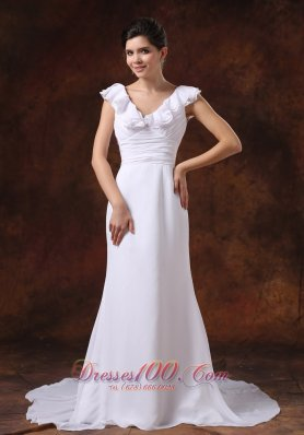 Ruched V Neck Brush Train Bridal Wedding Dresses