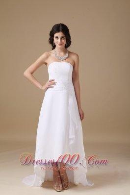 Appliques Strapless Chiffon High Low Bridal Dresses