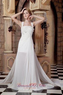 Straps Watteau Train Bridal Wedding Dress Chiffon