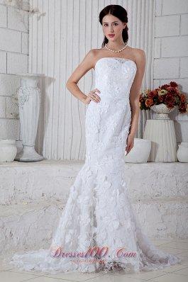 Mermaid Brush Train Flowers Wedding Dress Strapless