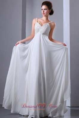 Appliques Spaghetti Straps Beading Wedding Dress Chiffon
