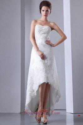 Lace High Low Wedding Dresses For Brides Strapless - US$198.16